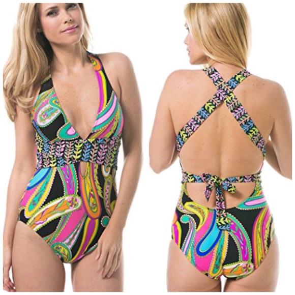 6f4da5c7dfb Trina Turk garden Paisley swimsuit sz 6. M_5b2b0125aa5719095b7f3da7
